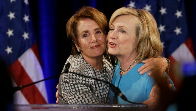 House Democratic leader Nancy Pelosi and former secretary of State Hillary Clinton.