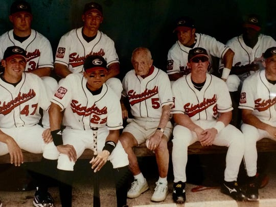 This photo of the 1996 Shorebirds with Frank Perdue hangs in the Eastern Shore Baseball Hall of Fame.