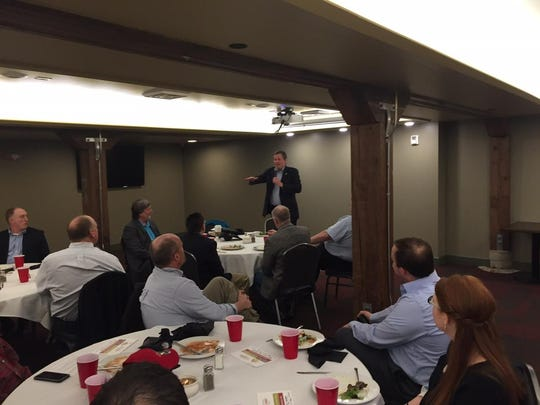 "U.S. Sen. Steve Daines speaks to members of the Great Falls Development Authority Friday. ""The smartest people will move to the best places,"" Daines said."