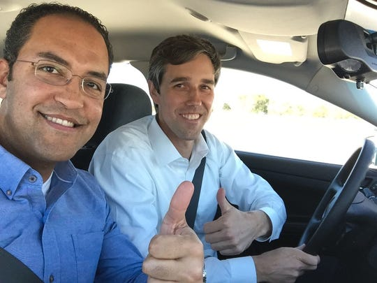 Then Congressmen William Hurd from San Antonio and Beto O' Rourke of El Paso stop to pose for a selfie as they travel to make the trip from San Antonio to Washington, D.C., by car in this El Paso Times file photo.