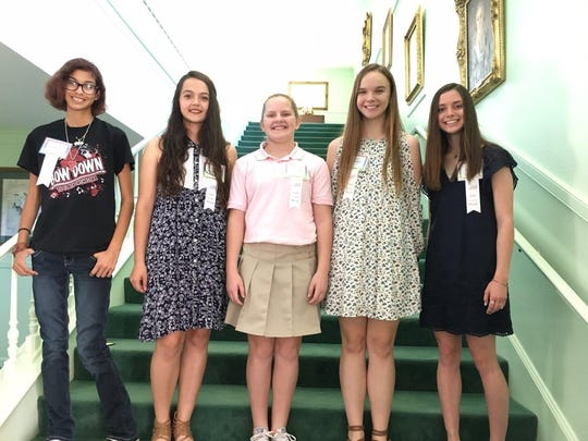 The Abilene Woman's Club honored its Girls of the Month for April on May 12. From left: Dylan Cox, Clack Middle School; Kaileigh Elliott, Craig Middle School; Lorelei Shirmer, Madison Middle School; Julia Melson, Mann Middle School; and Olivia Lynch, Wylie Junior High School.