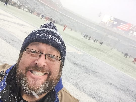 IndyStar photographer Matt Kryger takes a selfie at New Era Field in Orchard Park, New York, before the Indianapolis Colts game against the Buffalo Bills on Sunday, Dec 10, 2017.