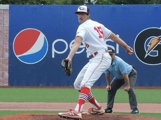Devin Williams, a North grad, pitches for Southern Indiana during the GLVC tournament. He's 5-4 with 58 strikeouts in 68 1/3 innings.