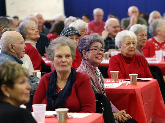 Students at Lincoln Roosevelt Elementary School host their annual Valentine's Day Luncheon for Roxbury senior citizens. February 16, 2017, Roxbury, NJ.