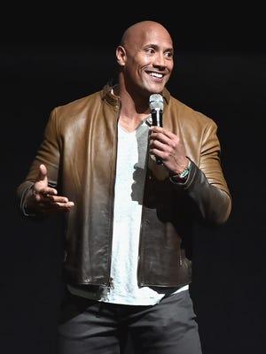 Dwayne Johnson talks up the rigors of shooting 'Jumanji' Monday night at CinemaCon 2017 in Las Vegas.