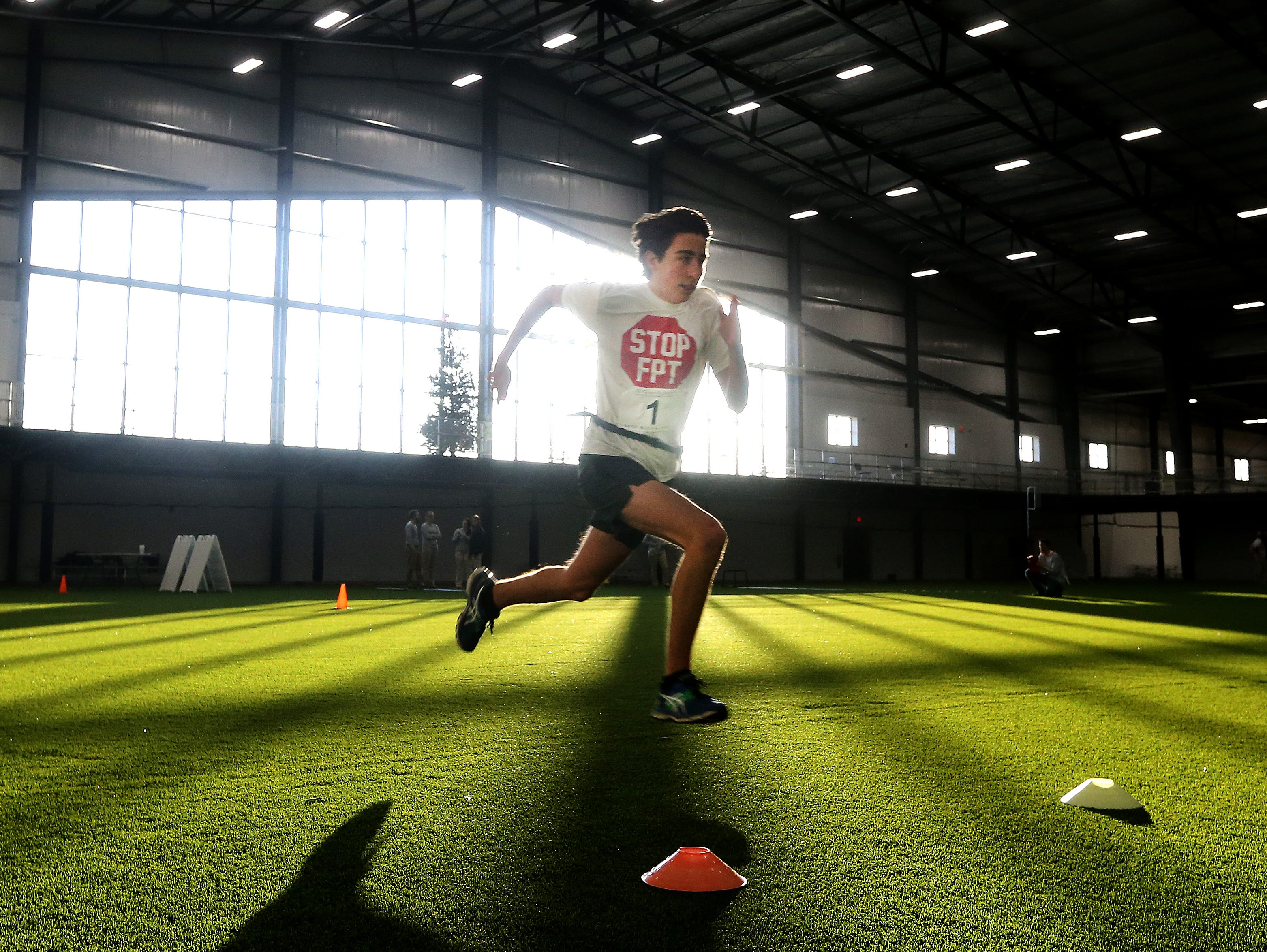 Fairport's Majd Rouhana runs the 40 yard dash at the AGR Sports Combine at Pinnacle Athletic Campus in Victor.