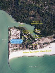 Aerial photo of Donahue Family property on Keewaydin