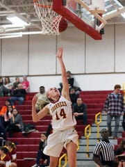 Somerville vs Voorhees girls basketball held at Voorhees High School in Glen Gardner on Tuesday January 19, 2016.Payce Lange # 14 of Voorhees gets up for the lay up during the first half of play.