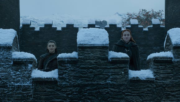 Arya and Sansa on 'Game of Thrones.'