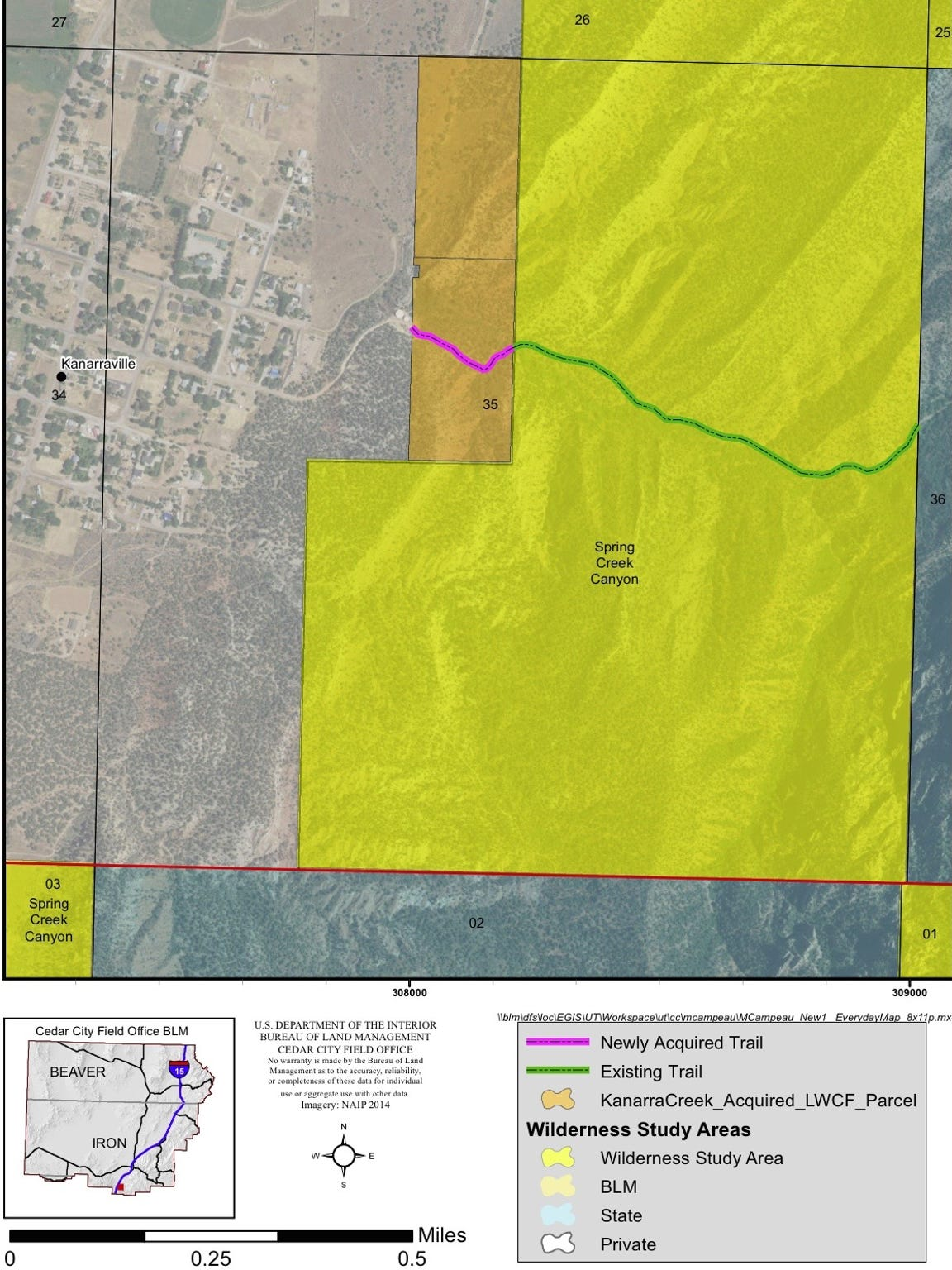 The BLM purchased 40-acres near Kanarraville Falls,