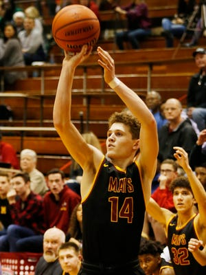 Rowen Farrell with a three-point shot against Lafayette Jeff in the sectional semifinal Friday, March 2, 2018, in Lafayette. McCutcheon defeated Jeff 67-53.