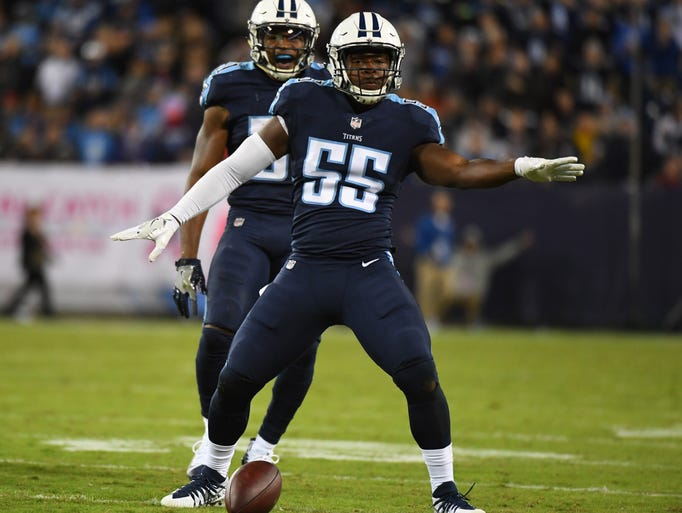 Titans linebacker Jayon Brown celebrates second-half
