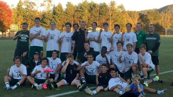 The Christ School soccer team after Tuesday's 5-4 win over Rabun Gap (Ga.).