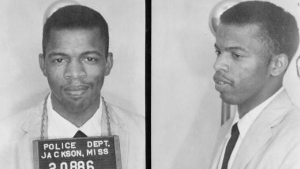 "In 1961, Mississippi arrested wave after wave of Freedom Riders that dared to enter an ""all-white"" area of the bus station, including future Congressman John Lewis. They were arrested, convicted and sent to Mississippi's most notorious prison, the State Penitentiary at Parchman. Lewis was finally freed on July 7, 1961."