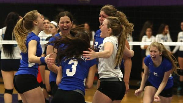 Dobbs Ferry celebrates its 28-26, 25-17, 25-22 win over Westlake during the girls volleyball Section 1 Class C championship at John Jay High School in Cross River Friday.