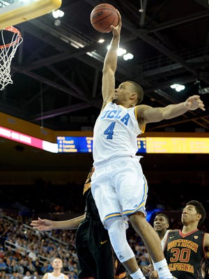 UCLA Bruins guard Norman Powell (4) dunks in the second half of the game against the USC Trojans at Pauley Pavilion. UCLA won 85-74.