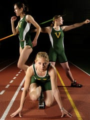 University of Vermont track and field athletes (from left) Carmen Lagala of Montpelier (800 meters), Jan Carlson of Vernon (100 meters and/or 200 meters) and Kedi Kinner of Bomoseen (javelin) competed in the NCAA regionals in Greensboro, N.C. in 2006.