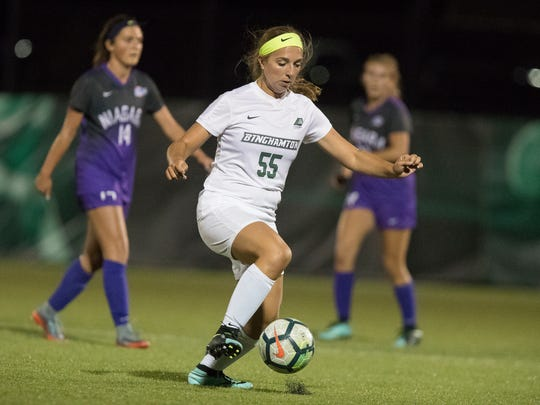Binghamton University freshman Genna Michitti, a Maine-Endwell graduate, has two goals and two assists this seasaon.