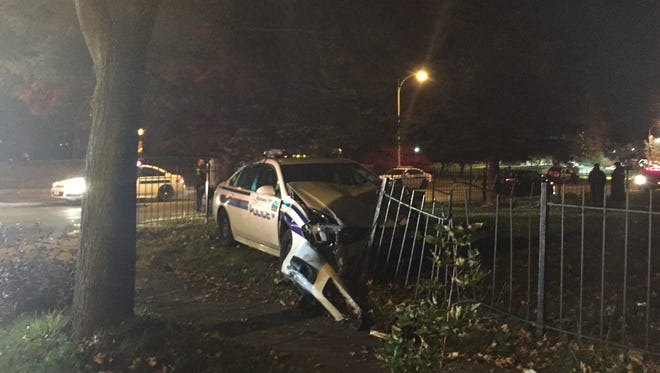 A Rochester officer was involved in a two-car crash on West Avenue on Friday.