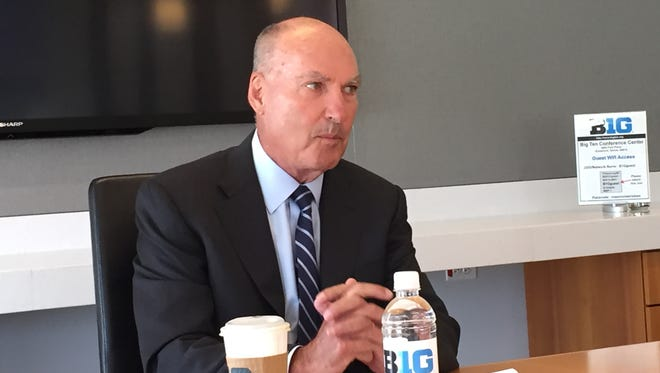 Big Ten commissioner Jim Delany speaks to reporters Wednesday, May 18, 2016, in Rosemont, Ill.