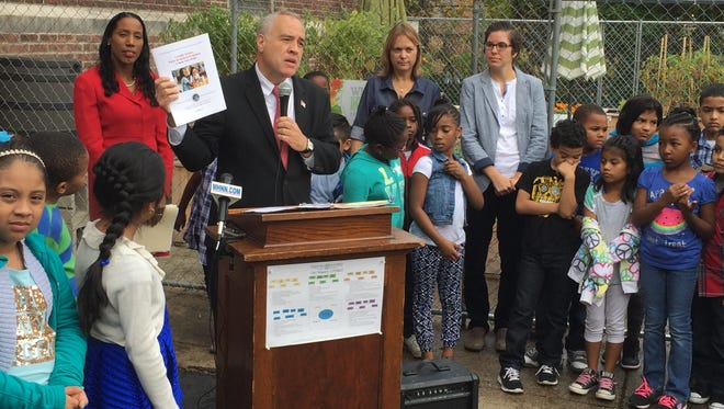 New York State Comptroller Thomas P. DiNapoli presents his farm-to-school programs report at Gov. George Clinton School in the City of Poughkeepsie.