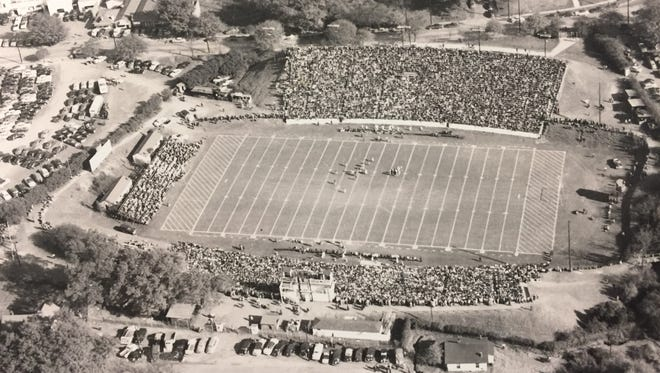 Aerial view of Sirrine Stadium in 1950.