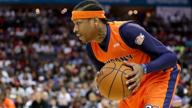 Allen Iverson #3 of 3's Company surveys the court during week two of the BIG3 three on three basketball league at Spectrum Center on July 2, 2017 in Charlotte, North Carolina.