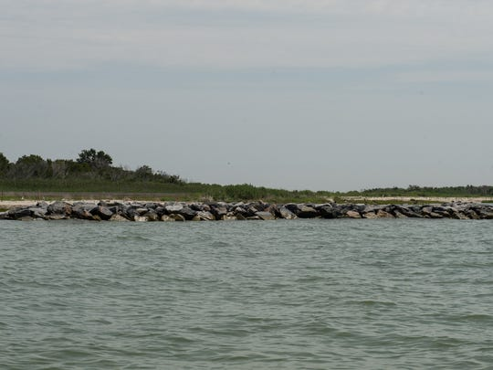 A view of a structure build to prevent beach erosion on Smith Island.