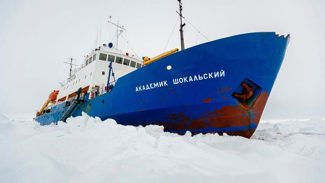 The Russian ship MV Akademik Shokalskiy is shown trapped in thick Antarctic ice on Dec. 27, 2013.