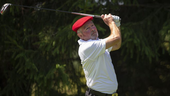 Jamie Hogan, who owns a record nine Men's City titles, barely missed a 10th, losing in a playoff to Marcus Smith in the 2020 tournament. Hogan, shown teeing off at Aldeen in the final round in 2020, was named the fifth-greatest golfer in Rockford-area history.