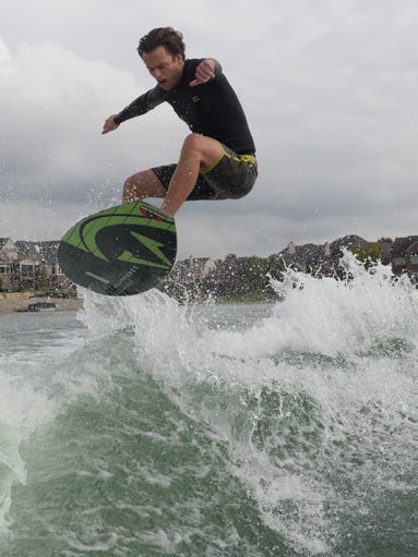 Nick Parros practices for the World Wake Surfing Championship