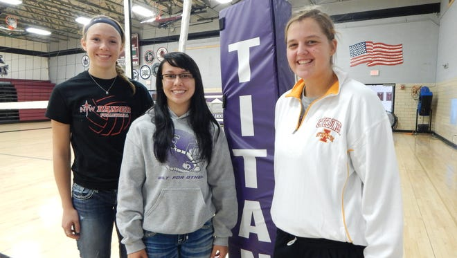 South Central Calhoun volleyball players (from left) Allison Birks, Shelby Kingery and Julia Seil returned to the school's gym after a tornado last May kept the team out.