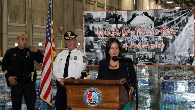 Perth Amboy Mayor Wilda Diaz speaks about the Puerto Rico relief effort.