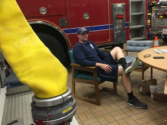 "Longtime Lewes firefighter Robert Stephens lounges in a chair at his station after returning from a medical call in July.  During those emergencies, his teams have learned patience while negotiating a clogged Del. 1, between Lewes and Rehoboth, he said.  ""The main thing we try to do is just take our time,"" he said. ""We got a big firetruck, and even though it has blinky lights and sirens and everything else but the kitchen sink, unfortunately , some people still don't see that."""