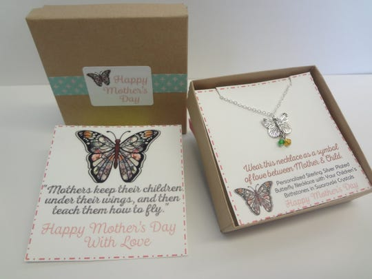 Personalized Mom's Butterfly Necklace by Violet & Blue.