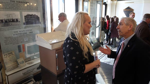Kendra Heathscott talks with South Dakota Rep. Fred