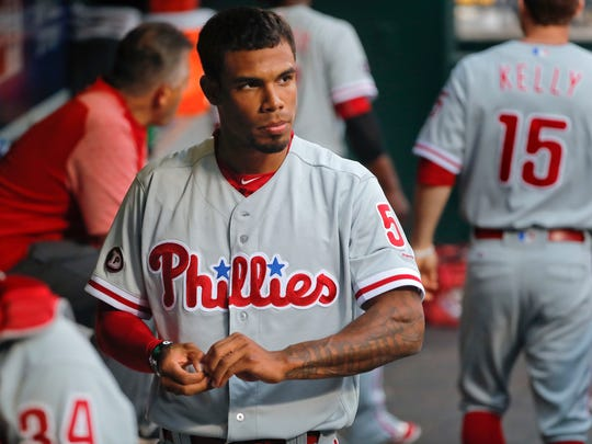 Philadelphia Phillies' Nick Williams prepares to take the field during the first inning of the team's baseball game against the New York Mets, Friday, June 30, 2017, in New York. (AP Photo/Julie Jacobson)