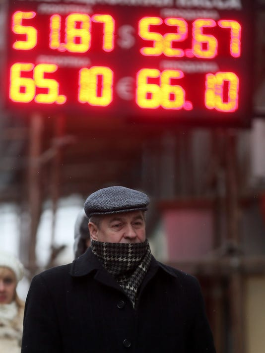 Russian rouble falls against US dollar