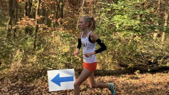 Natalia Martino works her way through the woods during this year's Class 1A Seneca Sectional. She won sectional handily, leading Winnebago to the team sectional title as well. Martino, and six other Winnebago girls are on this year's Rock River Valley High School Sports Awards all-star team.
