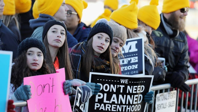 Pro Life supporters at the March for Life rally on in Washington,DC.