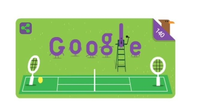 The Google Doodle in honor of the 140th anniversary of Wimbledon.