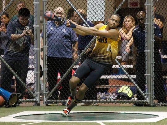 Lakeland/Panas' Cameron Thompson qualifies with a throw