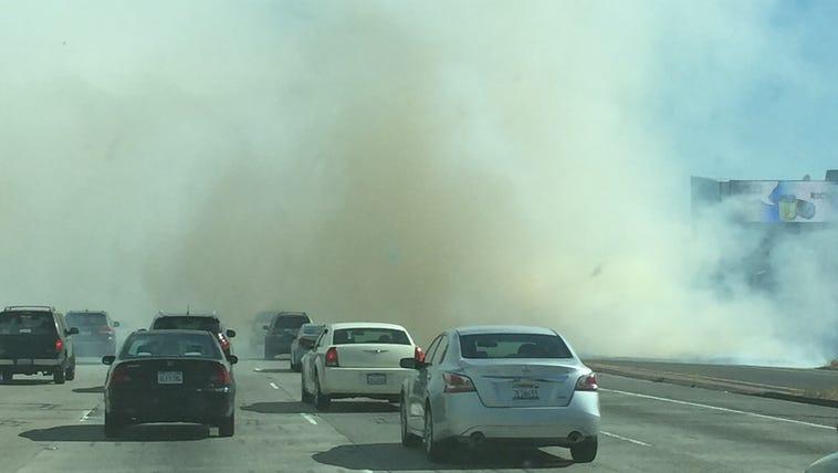 Grass fire near I-5 and J Street