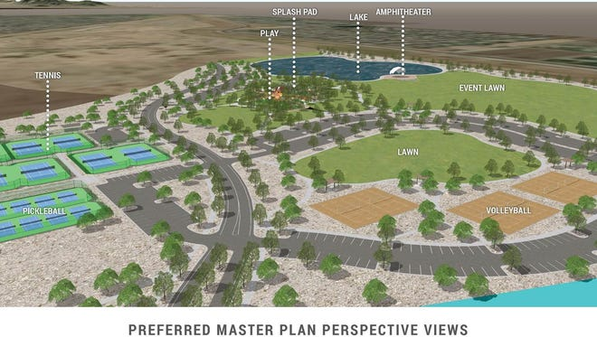 A mock-up of the planned 272-acre Gilbert Regional Park at Queen Creek and Higley roads.
