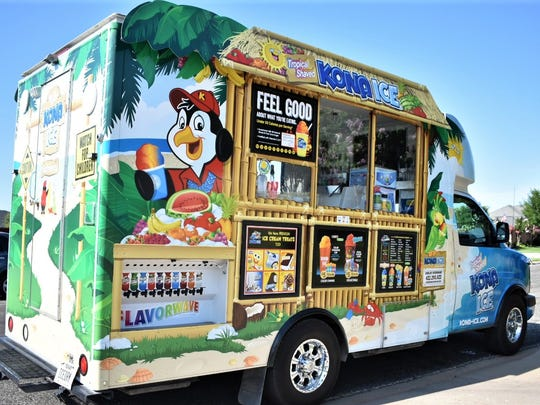 The Kona Ice truck parked on Lyndhurst Drive in San