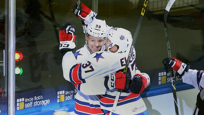Matt Ellis was celebrating with Jean Dupuy often on opening night. Ellis scored three goals in that game, with Dupuy assisting on each. Lately, however, Ellis has been one of the veterans alternating in and out of the lineup.