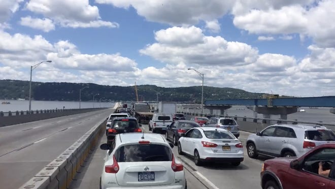 Traffic backs up on the Rockland-bound lanes of the Tappan Zee Bridge after a crane collapse.