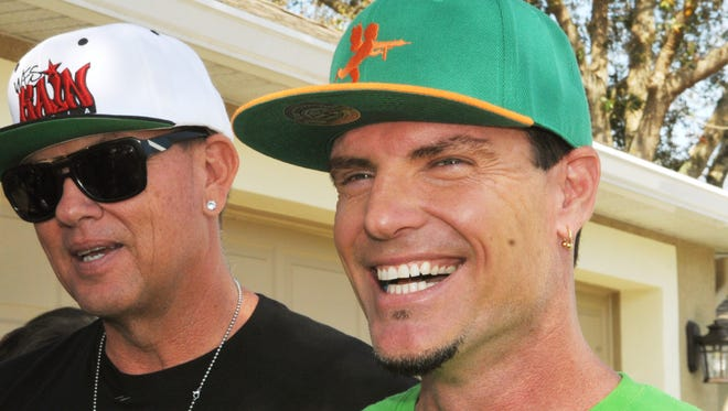 """Vanilla Ice and his """"Vanilla Ice Project"""" co-star Wes Kain, left, helped build a specialized therapeutic pool for the Johnson family of Palm Bay in 2015. The pair are back in Melbourne Beach in 2017 for season 7 of the DIY Network show."""