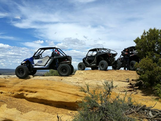 All-terrain recreational vehicles are pictured Sunday in the Glade Run Recreation Area in Farmington.