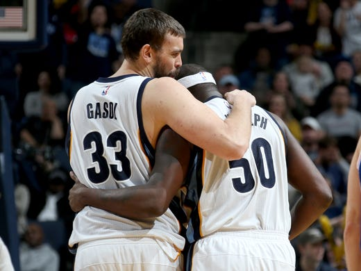Memphis Grizzlies center Marc Gasol embraces forward